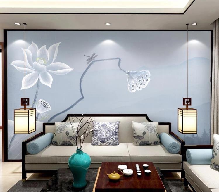 Cualquier encargo Tamaño del papel pintado 3D de tinta de loto hermosa mano abstracto dibujado en 3D de la sala del fondo del sofá decoración de la pared del papel pintado