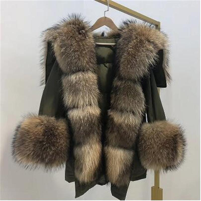 2019 moda yeni kış Ceket Kadınlar Gerçek Kürk büyük Doğal rakun Kürk Yaka uzun parka beyaz ördek aşağı ceket T191105