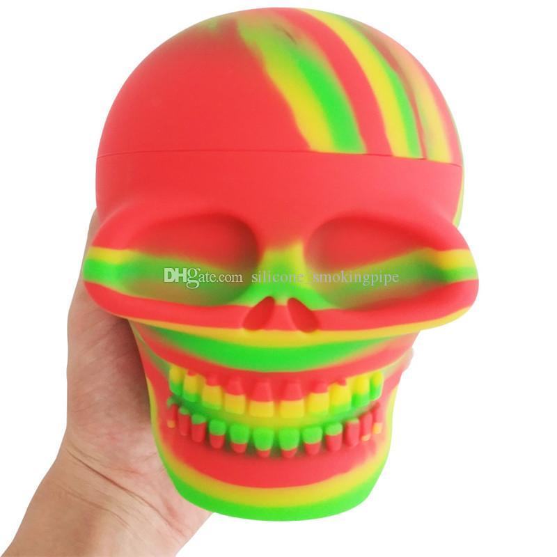 Conteneurs en silicone Box 500ml Conteneur de la forme de crâne de crâne Assortiment Color Color Silicone Conteneurs pour DAB Storage Conteneur Cire Center Jar