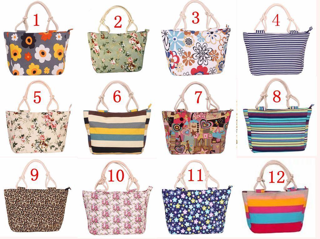 12 Cores da mulher Flor de compras da lona dobrável reutilizáveis mercearia sacos de algodão Tecido Eco Ladies Bolsas
