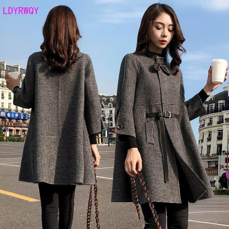 2019 sonbahar yeni Koreli kadın ekleme standı yaka tek göğsü yedi noktalı kollu taze ve güzel uzun pelerin yün ceket CJ191214