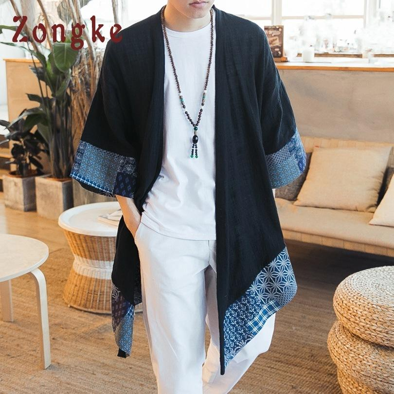 Zongke Chinese Open Stitch Traditional Mens Cardigan Plus Size Long Kimono Jacket Men 2018 Summer C19040401