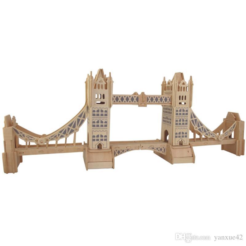 Kinder Block-Spielwaren Neue Artikel Tower Bridge von London 3 d Holz Simulation / Stereo DIY Versammlungs-Modell-Lernspielzeug-Geschenk