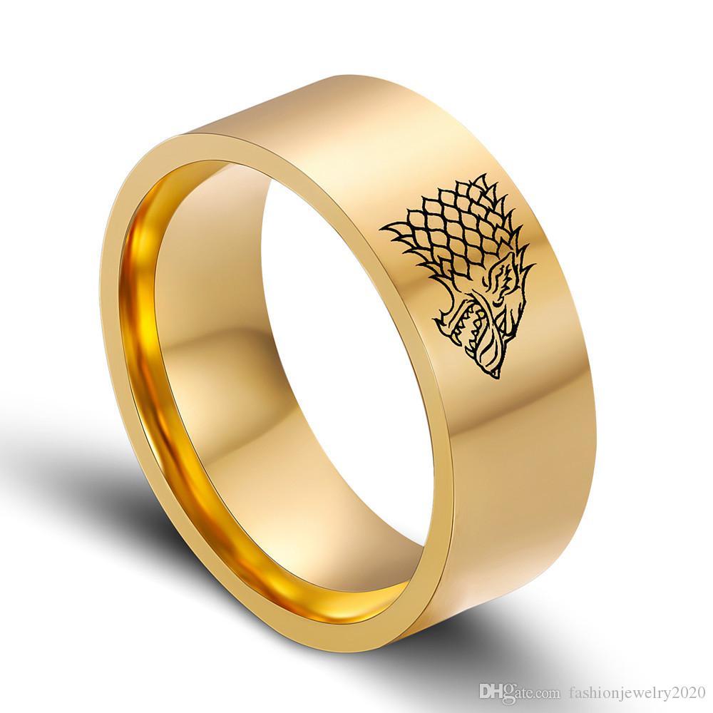 Ring der Art- und Weise8mm personifizierte Schmucksache Rig-hts Ga-ich Eis-Wolf-Ring-Männer Ringe für Mann-Geschenk Freies Verschiffen