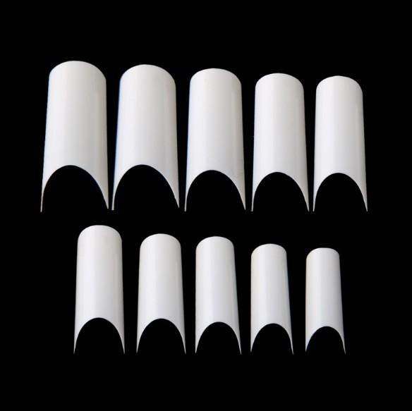 C Curve French Fake Nail Tips Long Half Cover Frosted Acrylic False Nails Natural Artificial Nails 10 Sizes Nail Extension for Nail Salons D