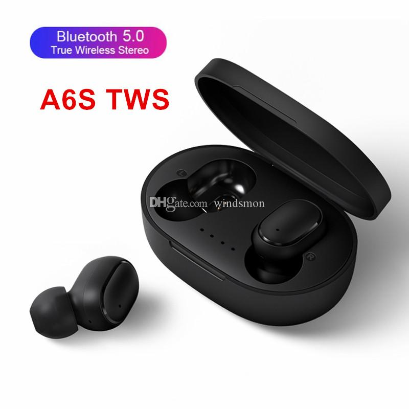 A6S Bluetooth Headset with Mic Charging Box for Cellphone True Stereo Earphones TWS A6S Headphones Noise Cancelling 5.0 Wireless Earbuds