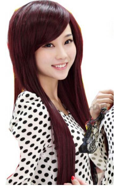 fashion lady side bang full long straight hair wig costume party wine red wigs