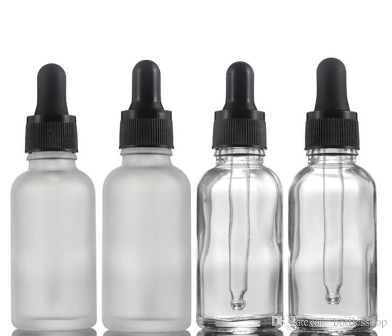 Empty Round Glass Essential Oil Bottles 30ml Frosted Clear Glass Pipette Dropper Container For Cosmetics Skin Care Essence