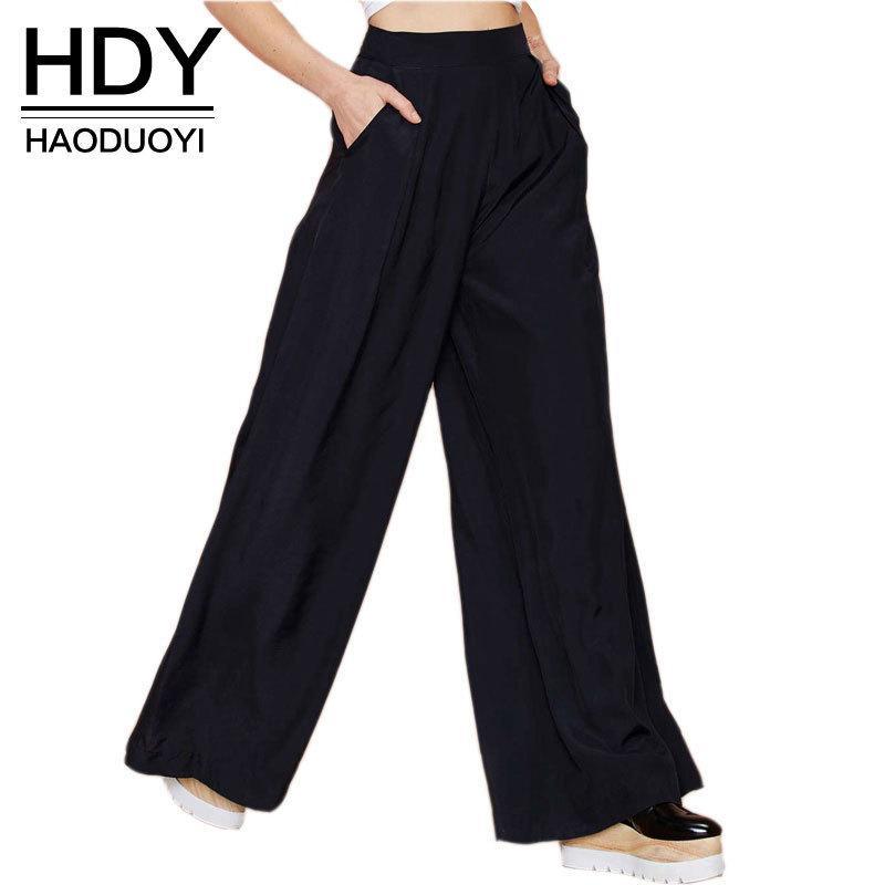 Hdy Haoduoyi Hot Sale Women Black Wide Leg Casual Loose Palazzo Trousers Elegant Zipper High Waist Pants New Arrivals MX190716