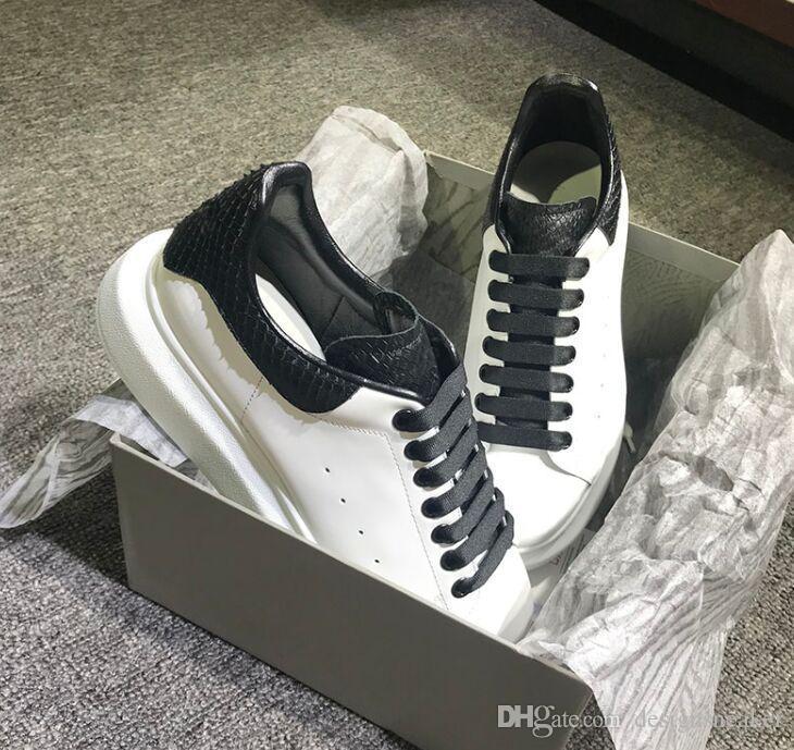 2019 Erkekler Kadınlar Sneakers Casual Deri Ayakkabı Casual Ayakkabı Snakeskin Lace Up Tasarımcı Konfor Pretty Erkekler Kadın Spor ayakkabılar derece Dayanıklı