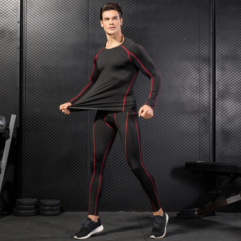 Hot Russia Local Delivery Compression Tracksuit Fitness Tight Run Set shirt Legging Men Sportswear Demix Black Gym Sport Suit