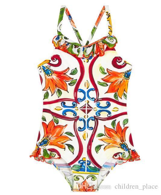 Traje de baño para niños Niñas pequeñas Mañana de verano Traje de baño de una pieza Bebé niñas estampado floral elegante traje de baño Envío gratis