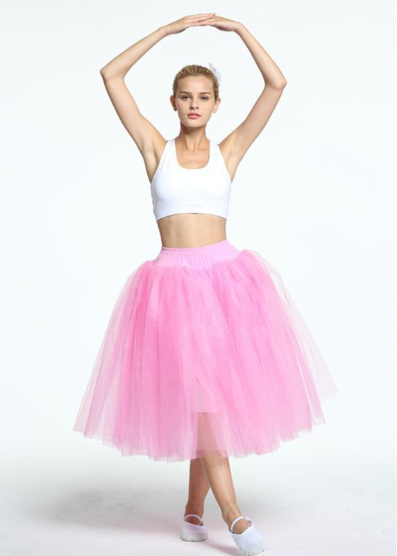 Adult Romantic Ballet Half Long Tutus Performance Practice Ballet Long skirt Stage Party costume White pink blue Color