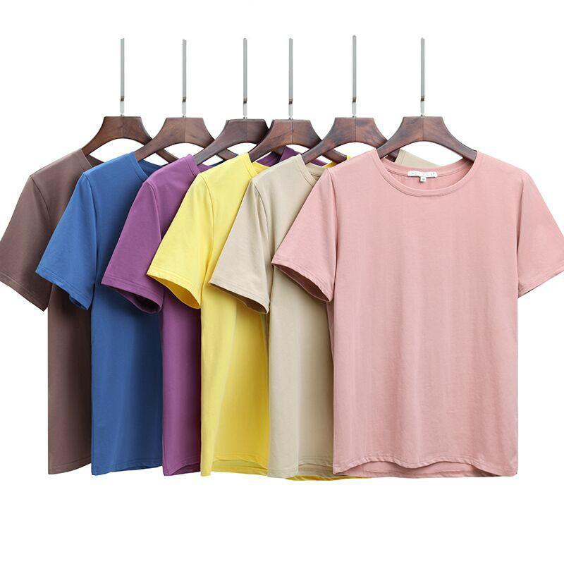 2020 Summer Cotton T Shirt Loose Women Style de T-shirt solide Femme à manches courtes T-shirts O-Neck T-shirt femmes 12 couleurs