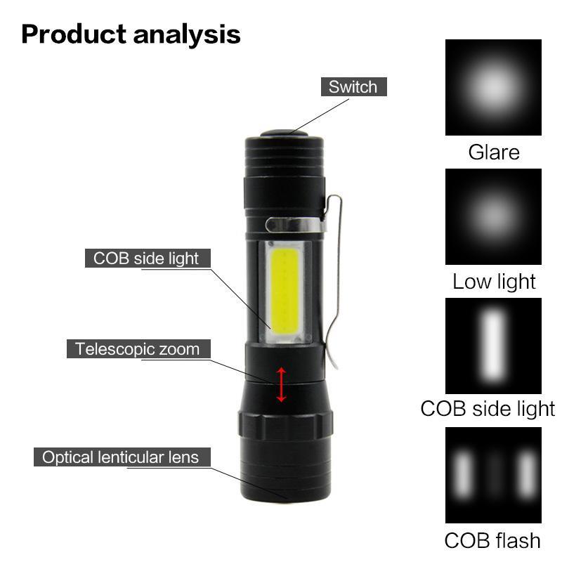 La mini torcia BRELONG da 1 pz con luce laterale COB La torcia a LED per esterni con zoom bianco porta il lavoro quotidiano