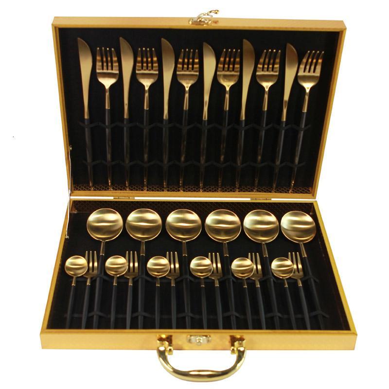 KuBac 30 Piezas Negro Oro de vajilla de acero inoxidable 18/10 Cena Cuchillo Tenedor cubiertos conjunto rosa de oro blanco con caja de regalo T191015