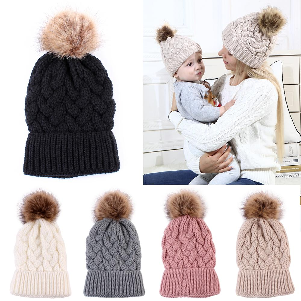 Children Kids Baby Warm Winter Wool Knit Beanie Real Fur Pom Bobble Hat Cap Gift