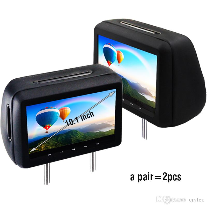 (Pair) Universal 10.1 inch Car Dvd Dual Headrest Screen Player Black Hdmi FHD 1080P USB SD FM IR Touch Key Game