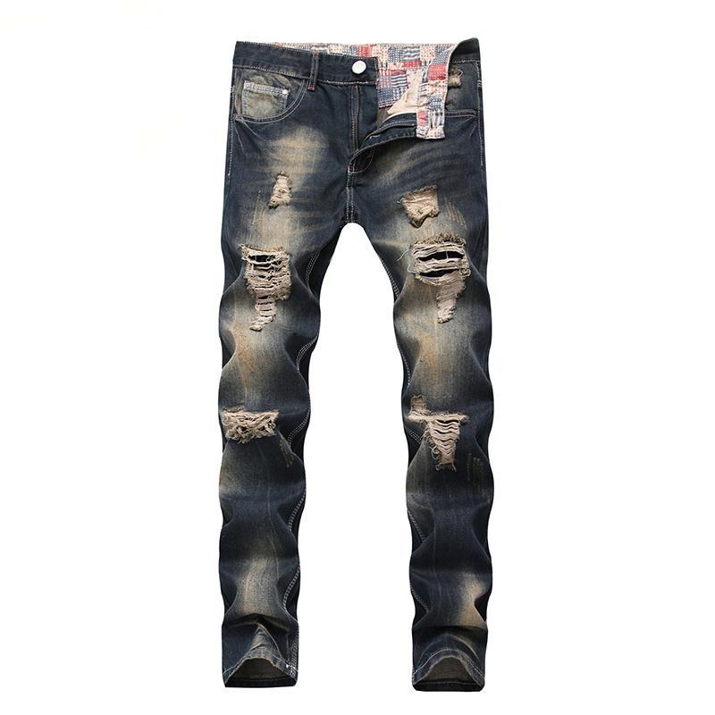 Jeans uomini sciolti Slim Destroy Torn strappato cowboy Uomo Jeans Hip Hop Patch Retro ginocchio Rap Hole Zipper Locomotive Plus Size