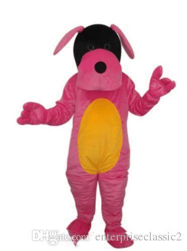 2019 alta qualidade hot pink dog puppy tamanho adulto mascot costume frete grátis