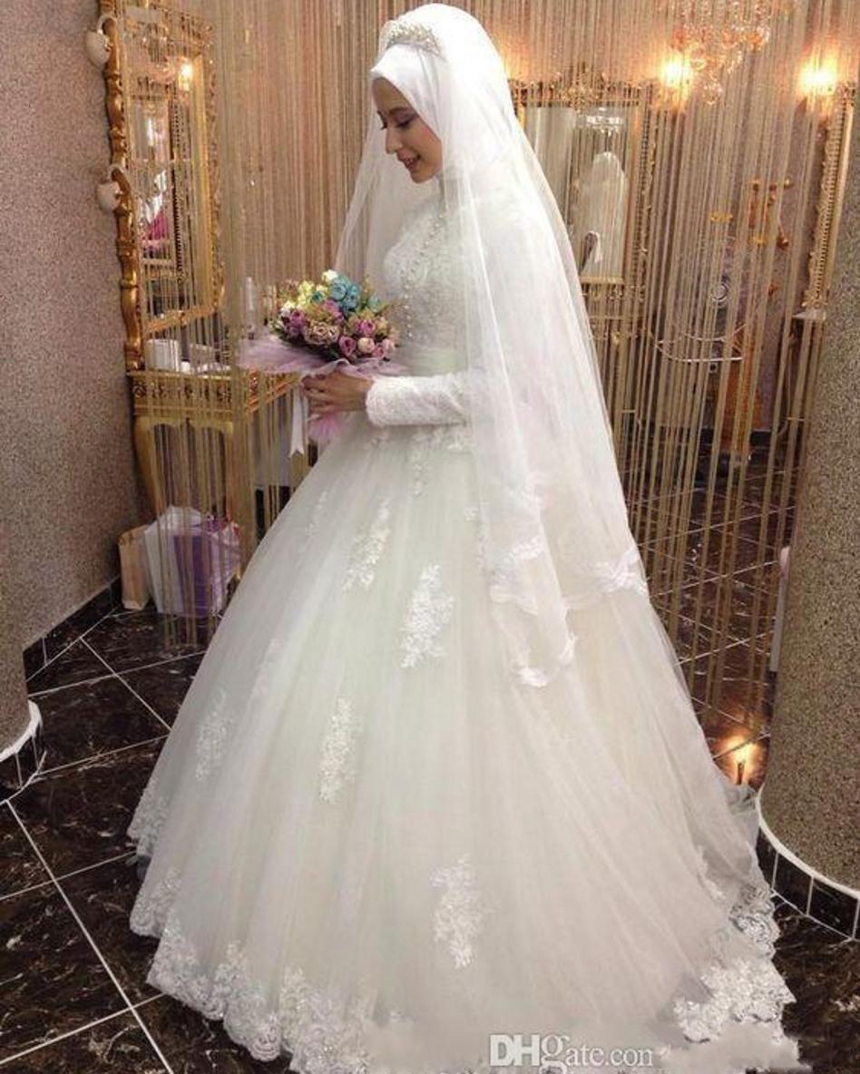 Großhandel 12 Arabisch Brautkleid Islamische Langarm Muslimische  Brautkleider Arabischen Ballkleid Spitze Hijab Hochzeitskleid Von  Dorianeshop,