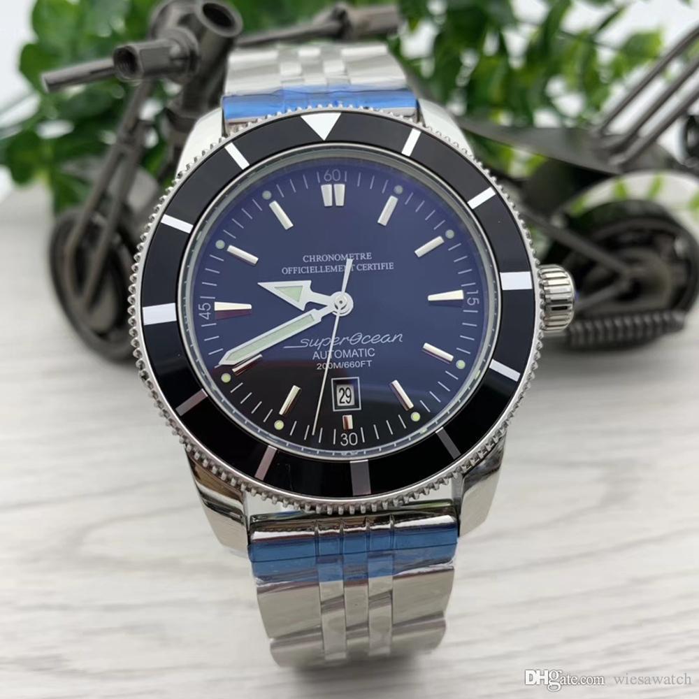 Luxo Estilo Mens Relógios 47mm Grande Black Dial Relógio Mecânico Automático de aço inoxidável de malha Pulseira Relógios de pulso