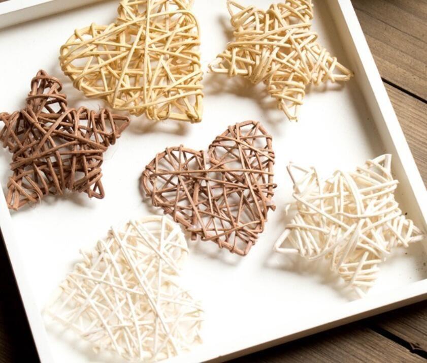 YENİ DIY Rattan Kalp Yıldız Ev Doğum Düğün Çelenk Noel ağacı Vazo Dekorasyon Etkinlikler 100pcs için DIY Süsleme Malzemeleri