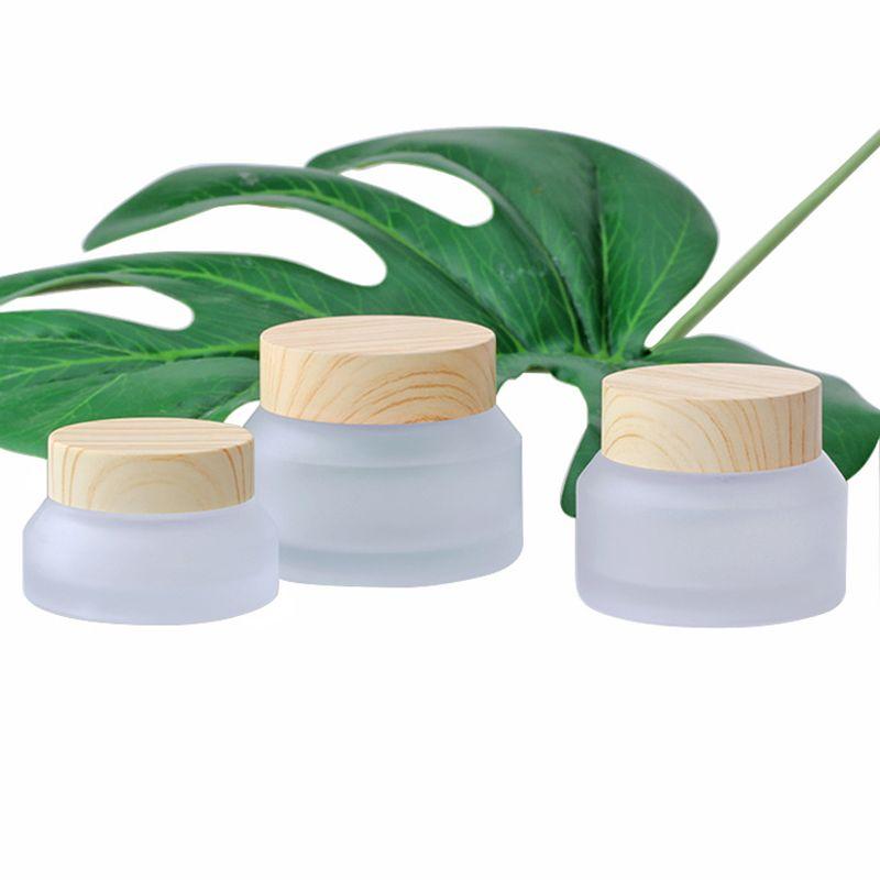 Frost Glass Bottle Plastic Lid Glass Jars Vuoto Crema Cream Jar Cosmetico Contenitore Contenitore 15G 30G 50G