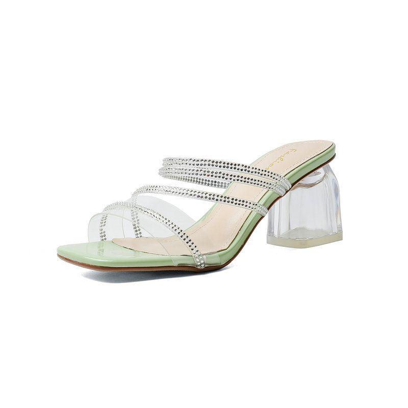 Frauen Pantoffeln Transparent Absatzschuhe Frau Komfort Brautkleid Schuhe Frauen-Sommer-Kristallschuhe Größe 41 42 43