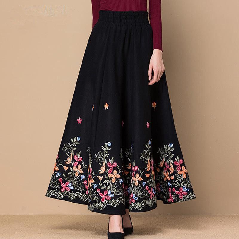 Siyah Fllower İşlemeli Yün Maxi Etek Kadınlar Şık Yüksek Bel Casual Etekler Anne Moda Artı boyutu Etek Office Lady Aşınma Y200326