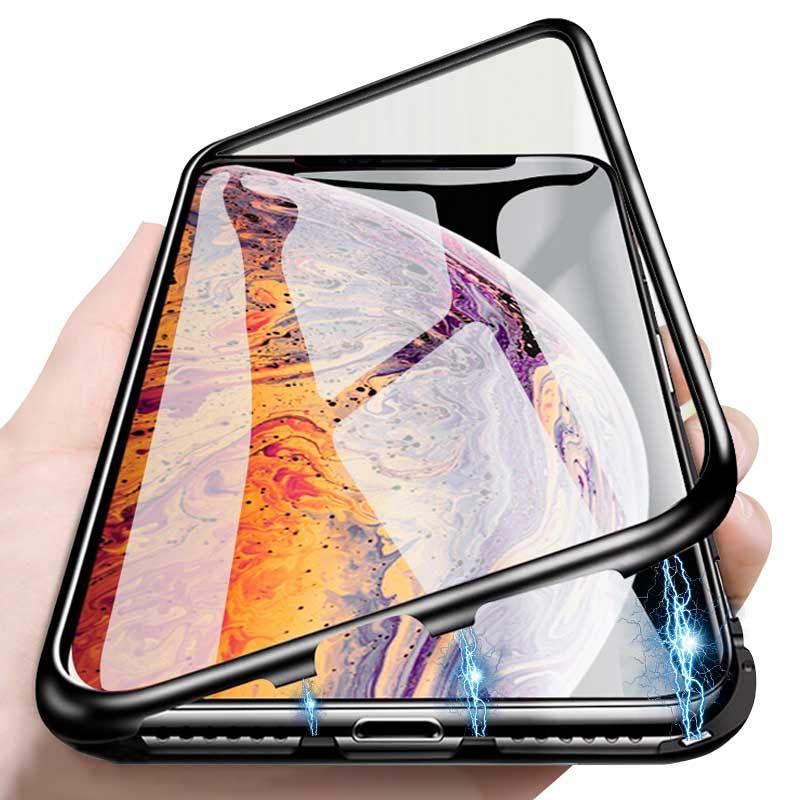 Adsorção magnética da caixa do telefone quadro de metal para iphone x xs max xr case anti-risco tampa da caixa de proteção para iphone 8 7 6