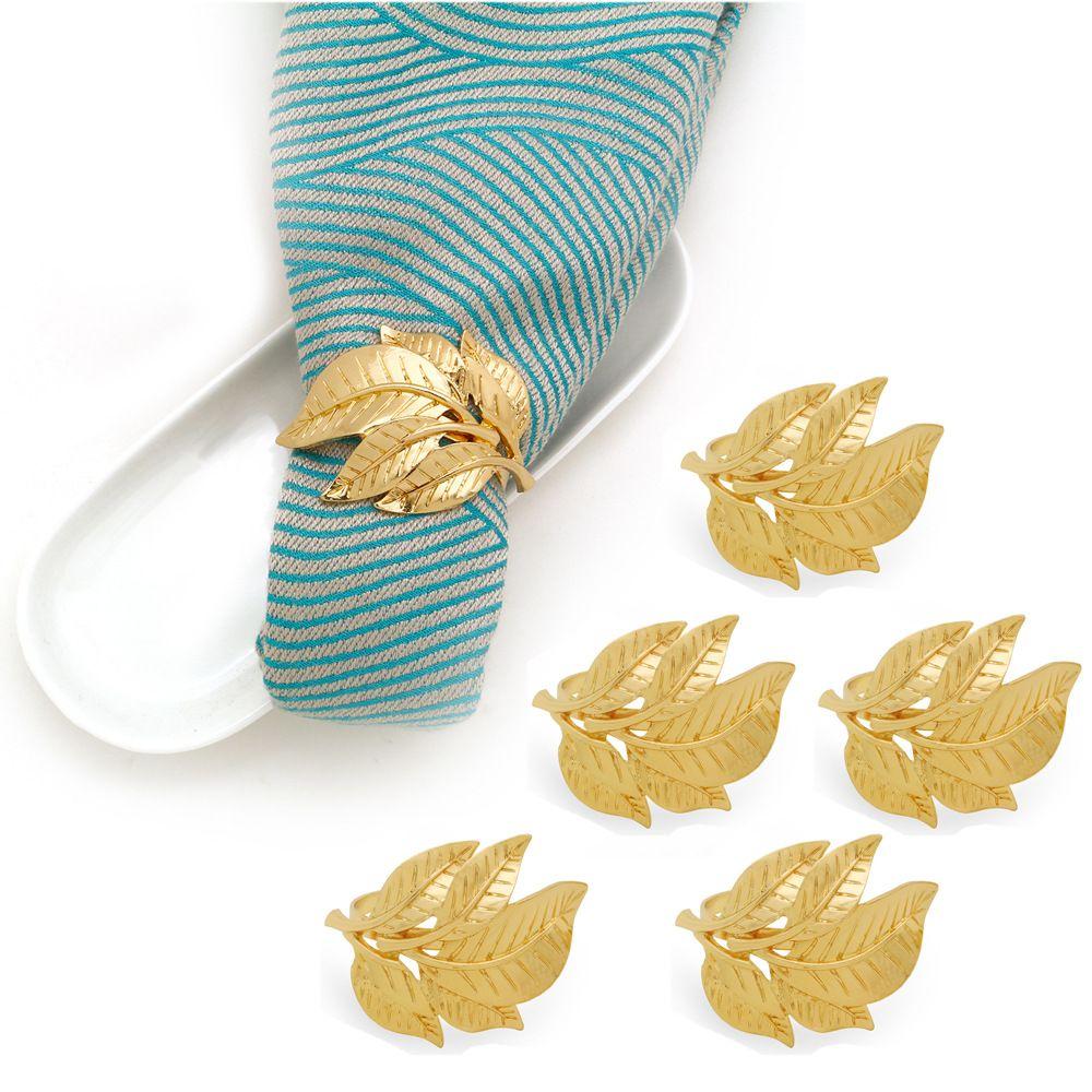 Partito foglia d'oro metallo tovagliolo portatovagliolo fibbia per Matrimonio Decorazione della tavola Hotel Table Accessori anelli di tovagliolo per feste 3,5 centimetri