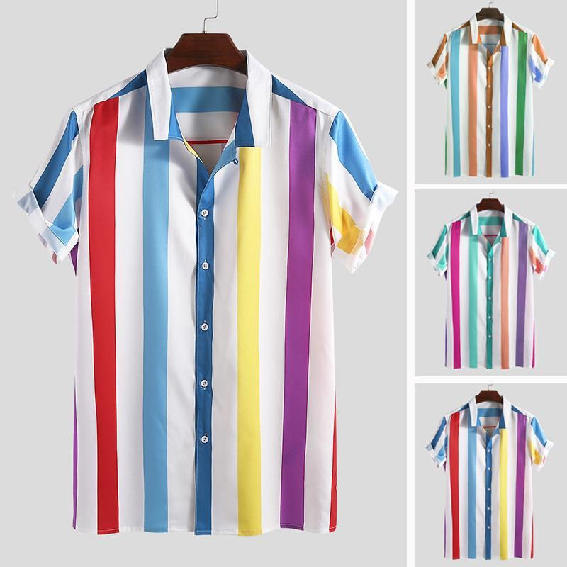 Men Shirt Summer Stripe Printed Casual Lapel Short Sleeve Male Shirt Tops 2019