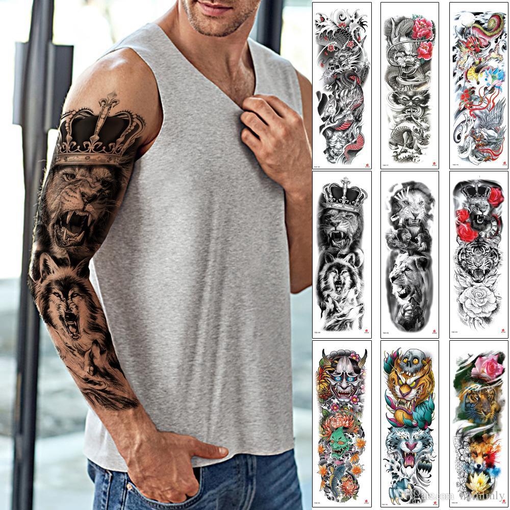 Большой Большой Полный Arm Временные татуировки Поддельные Прохладный лев Корона короля Рыба Дракон Тигр Череп дизайн черный тела макияж татуировки наклейки бумаги переноса