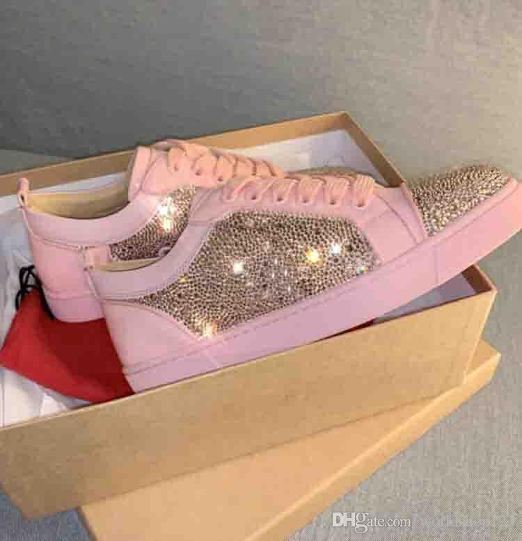 top zapatos de marca calidad estupenda Hombres Mujeres Pink Suede Rhinestone Strass Low famoso diseñador fondo rojo zapatillas de deporte para hombre de los zapatos con la caja y la bolsa para polvo
