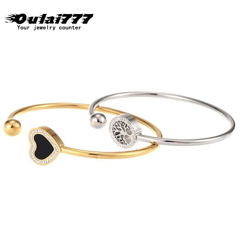 oulai777 Leben Baum Herz Armband Edelstahl Art und Weise Armbänder für Frauen Gold-Armband Paar Geschenke für Frauen Zubehör