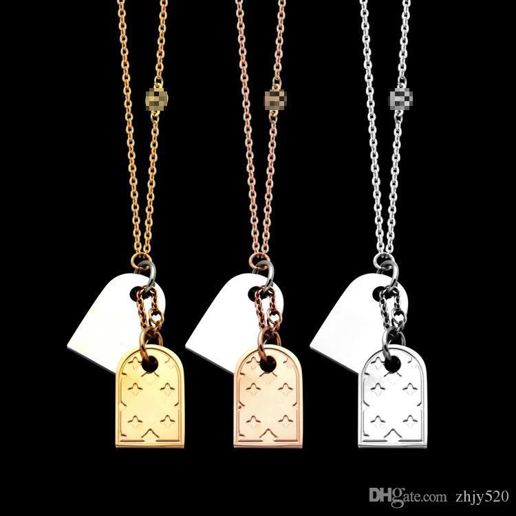 2020 Роскошные бренды конструкции Воротник Punk ожерелье Vintage из нержавеющей стали Двойной кулон 1.9 * 1.2cm ожерелье Женщины Мужчины ювелирные изделия