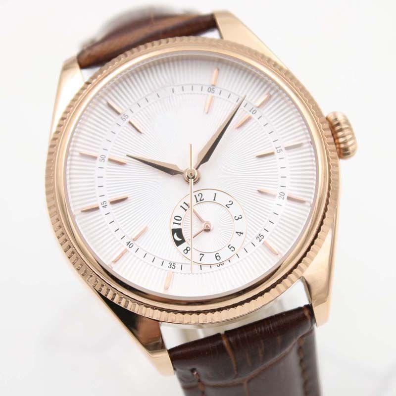 40 MM Otomatik Mekanik Mens Watch Saatler Gül Altın Vaka Bir Kahverengi Deri Kayış ve GMT Subdials Ile Beyaz Dial