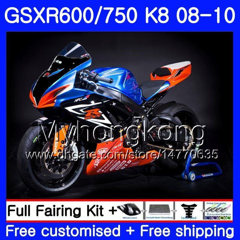 مجموعة من أجل SUZUKI GSXR 750 600 GSX-R750 GSXR600 2008 2009 2010 297HM.61 GSX R600 R750 600CC GSX-R600 K8 GSXR750 08 09 10 Orange blue Fairing