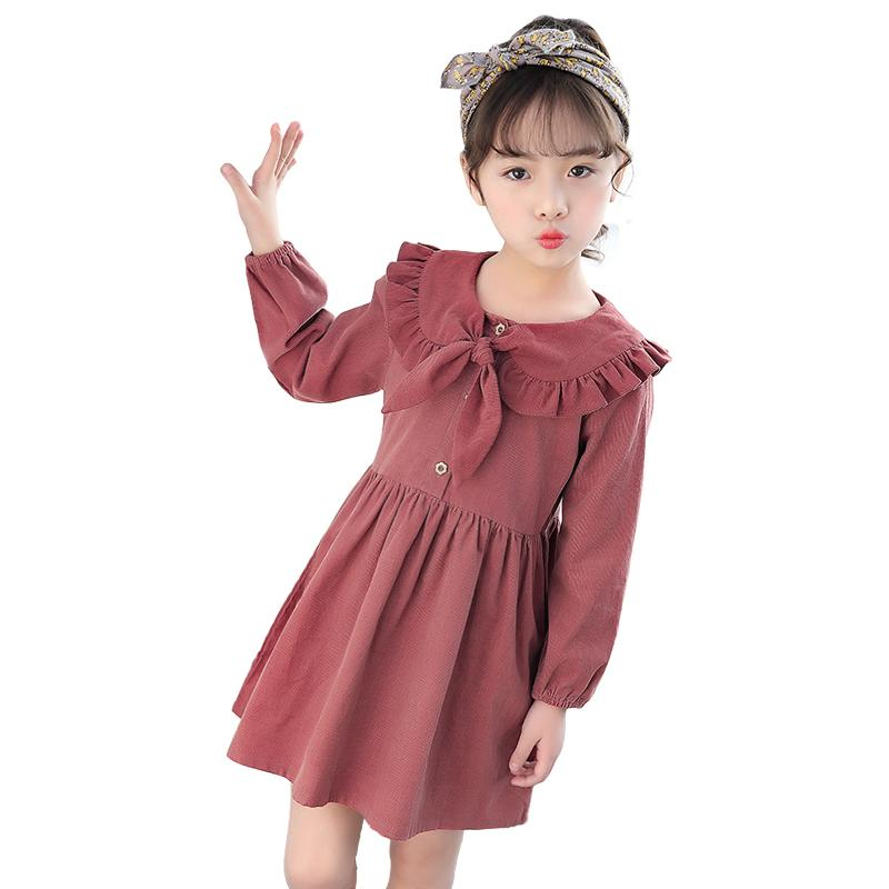 Simple Chinese Style 3 - 10 Yrs Baby Girls Winter Dress Doll-collar Girls Long Sleeve Dress Autumn Princess Frocks Kids Costume J190506