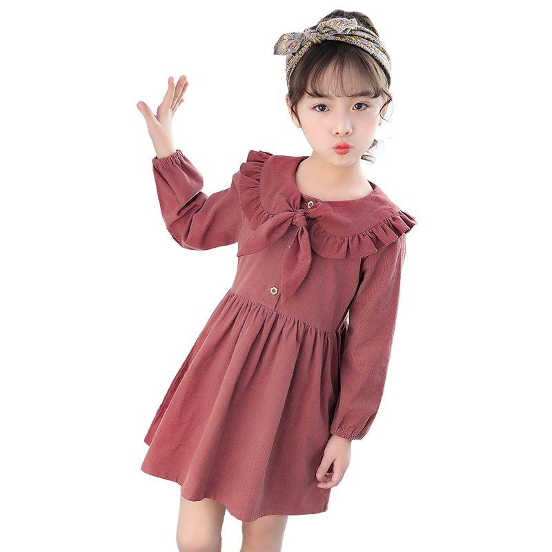 Estilo chino simple 3 - 10 años Niñas bebés Vestido de invierno Vestido de muñeca Vestido de manga larga para niñas Princesa del otoño Traje de niños J190506