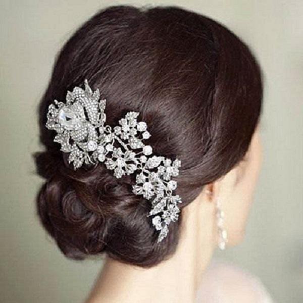 Marca de boda elegante joyería y accesorios de pelo de novia de flores de cristal de las mujeres del encanto del peine del pelo de la cabeza postizos pernos