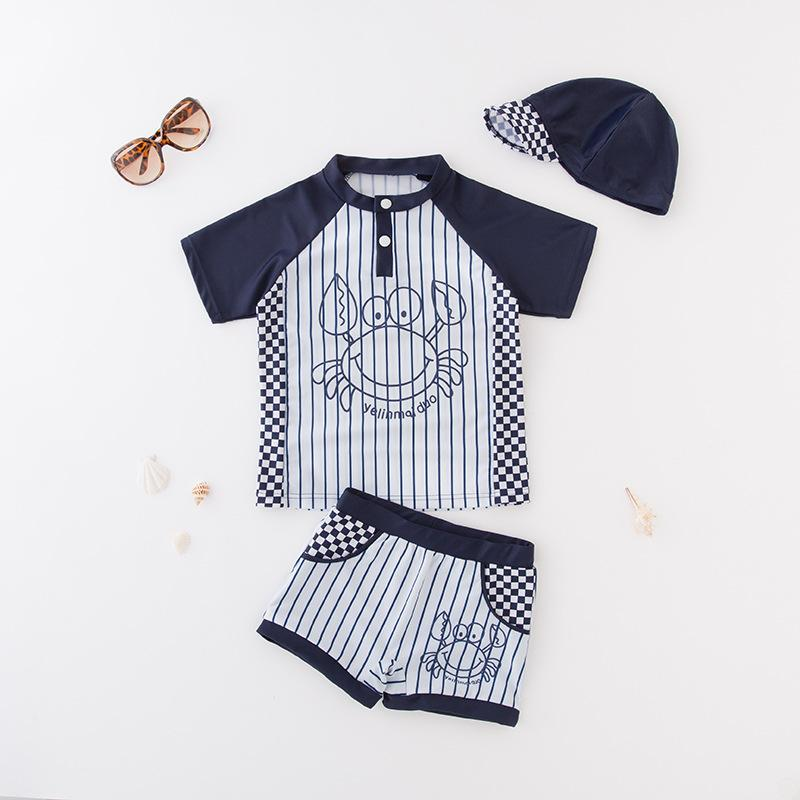 Navy Stripe Blue Baby Boys Crab Cartoon Swimsuit Beach wear Sun protection Summer outfits Vacation Swimwear Swim hats 3pc Suit