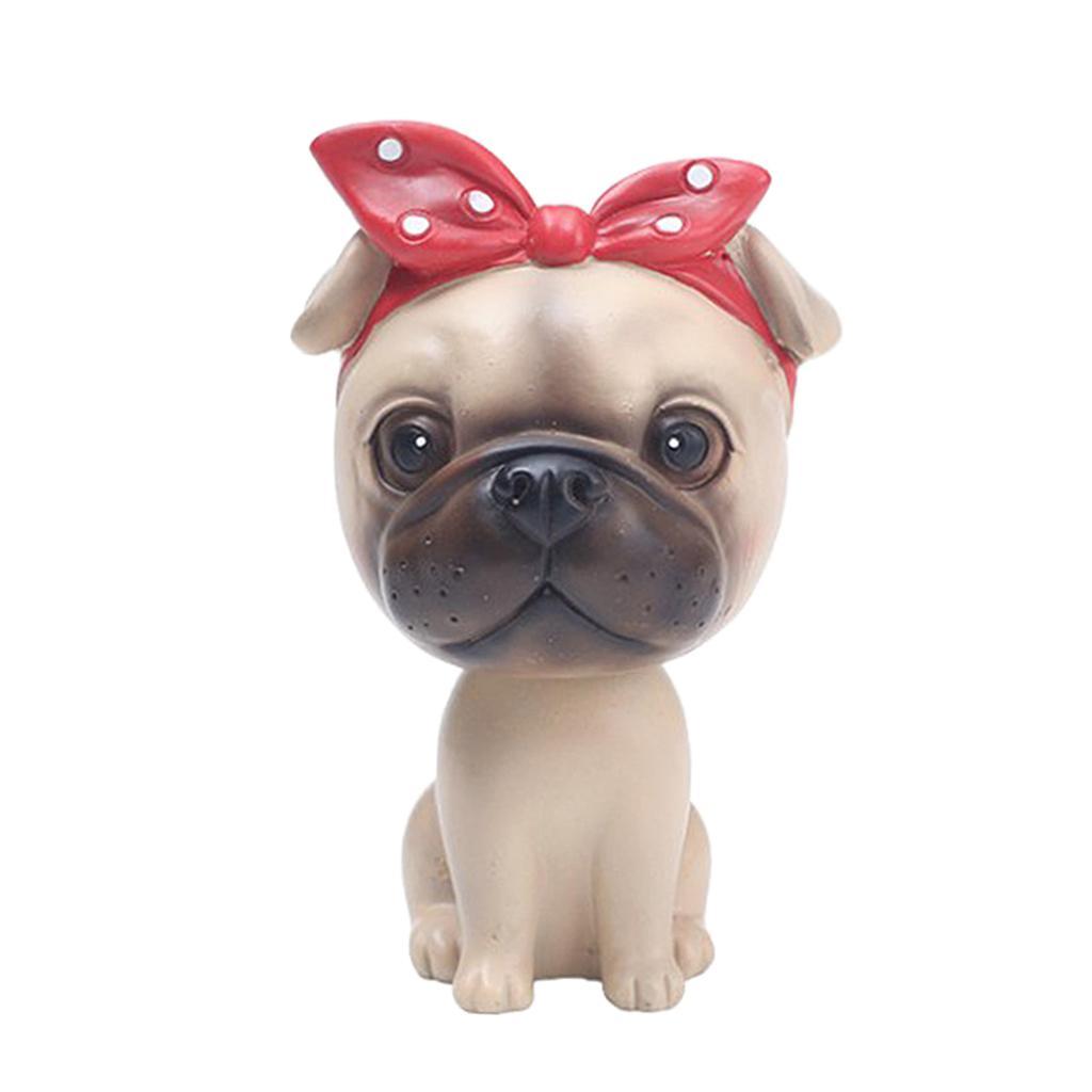 Desenhos animados do carro bonito cão balançando a cabeça da boneca Bulldog Car Painel Decor Tabela