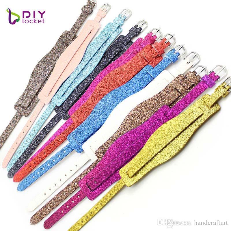 10pcs 18 + 8mm en cuir PU Bracelet Bracelet Mix Couleur Fit 8mm charms de diapositive / lettres de glissière LSBR010 * 10