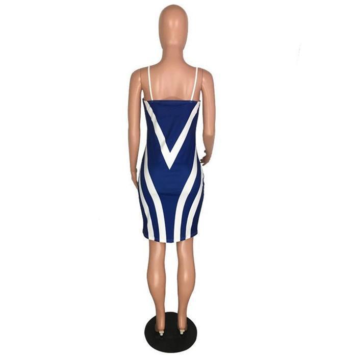 Hip Dress della cinghia di spaghetti Club Badycon Dress Designer femminile Abbigliamento nuovo modo sexy Stampa Bag a strisce