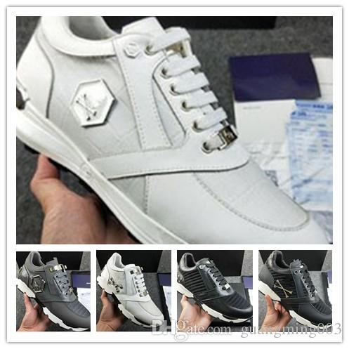Los hombres de cuero punky del estilo de las zapatillas de deporte Runner, PP Calzado casual decoradas con icónica cráneo del metal de forma gratuita tiempo tamaño 38-45 0a93