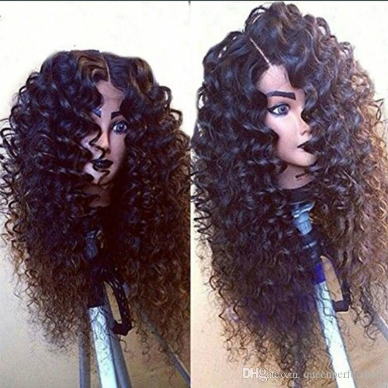 Parrucche ricci lunghe ricci resistenti al calore resistenziale dei capelli sintetici parrucca per capelli afro kinky ricci africa parrucca anteriore sintetico in pizzo sintetico americano per le donne nere