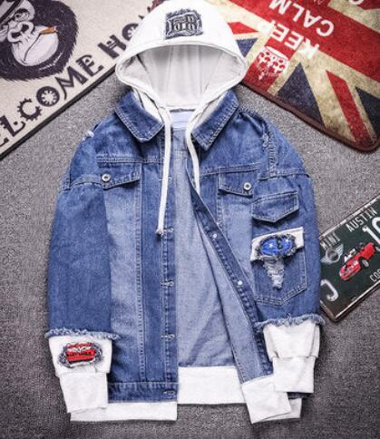 5cf6942c Джинсовая и флисовая толстовка мужская с капюшоном 2019 года новая модная  свободная гонконгская одежда супер популярная