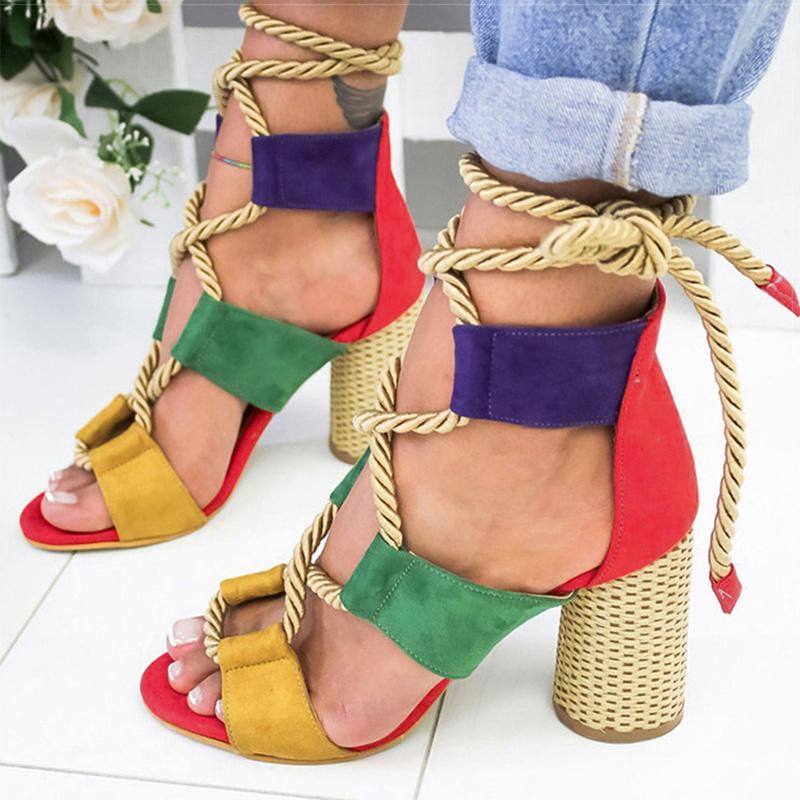 Женщины Сандалии Узелок Летняя обувь женщина на каблуках сандалии Остроконечные рыбы рот Гладиатор женщина Насосы Rope Высокие каблуки